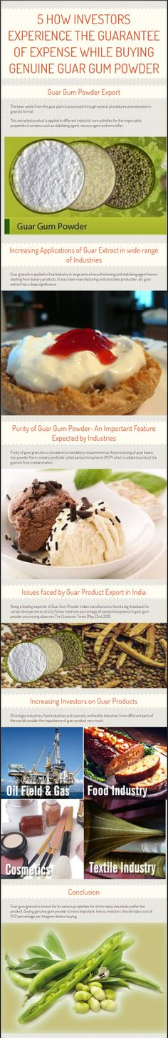 Find out the issues related to guar gum purity and how investors experience guarantee feature while investing in genuine guar gum powder. Find out how India severs industries by exporting guar gum powder produced with required regulatory features.