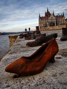 The Shoes on the Danube Promenade, Budapest, Hungary. A tribute to Jews murdered in the Second World War.