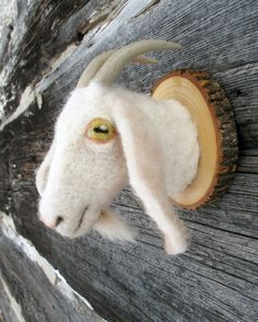 Gretl  the goat by fauxfauna on Etsy, $65.00.  fun to do with stuffed animals or plastic toys for hooks.