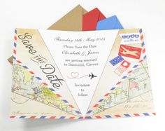 Vintage Airmail Save the Date Airplane from £1.00 each