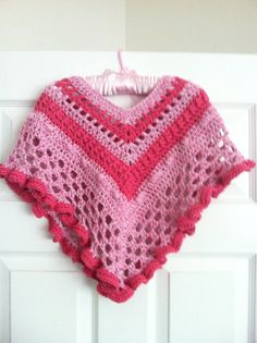 Pink a Boo Girls Poncho and Hat CROCHET por TiggztooPatterns