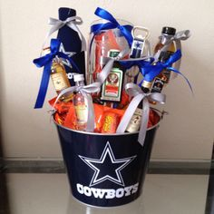 Drink basket. I made this for my husband for valentines day
