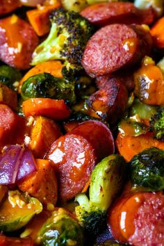 A super flavorful sheet pan dinner that is easy to make and is ready in under 30 minutes. All the fall veggies get caramelized and the smoked beef sausage get warmed thru perfectly. This sheet pan dinner is finished with a drizzle of delicious smoked papr Smoked Sausage Recipes, Pork Recipes, Smoked Beef, Cooking Recipes, Kilbasa Sausage Recipes, Turkey Kielbasa Recipes, Johnsonville Sausage Recipes, Polish Sausage Recipes, Bratwurst Recipes