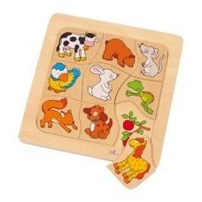"Puzzle ""Which food belongs to whom?"" - £6.20 - In Stock - Colourful animal motifs are shown on 9 puzzle pieces and their preferred food is printed on the puzzle frame. Now small puzzle friends should assign the animal motifs to the corresponding food pictures!  recommended minimum age From 2 years  Dimensions Size approx. 18 x 18 x 2 cm"