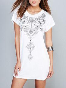 White Short Sleeve Backless Geometric Print Dress