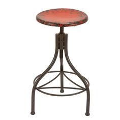 Industrial-chic design meets vintage style in this handsome bar stool. Artfully crafted of metal, this distressed red design is perfect for your table, bar, or counter. Product: Bar stoolConstruction Material: MetalColor: RedDimensions: H x Diameter Metal Stool, Metal Bar Stools, Counter Stools, Kitchen Stools, Foot Stools, Metal Chairs, Industrial Bar Stools, Rustic Industrial, Industrial Design