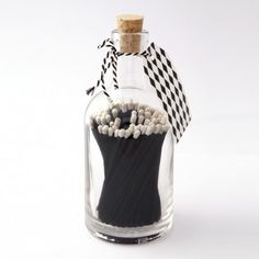Black Matches in Glass Jar - Kitchen Accessories - Kitchen - Kitchen, Bed & Bath