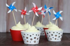 These DIY mini pinwheels make perfect cupcake, cake toppers or swizzle sticks.