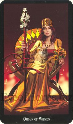 Queen of Wands with cat on lap from Witches Tarot Deck.
