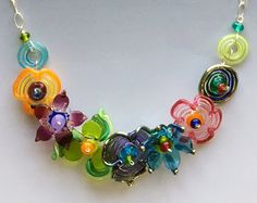 Secret Garden Medium Necklace: handmade glass lampwork beads with sterling silver components - Multicolor