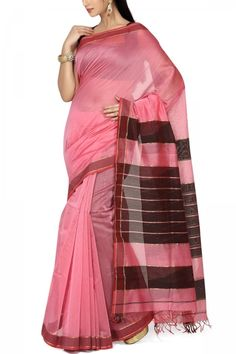 Carnation Pink & Black Cotton Silk Maheshwari Saree