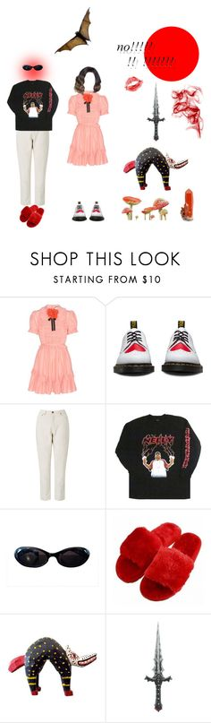 """""""social anxiety"""" by galaxygreenleaf ❤ liked on Polyvore featuring Gucci, Dr. Martens, Samsøe & Samsøe and Amy Winehouse"""