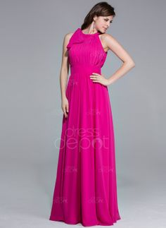 A-Line/Princess Scoop Neck Floor-Length Chiffon Evening Dress With Ruffle Inspired by 84th Oscar (017026074) - DressDepot