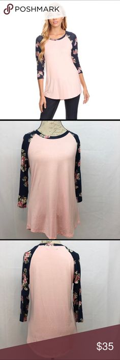 "Mayberrys 3/4 Length Floral Sleeve Top Mayberrys 3/4 length floral sleeve top. NWT no flaws condition. Size Medium. Armpit to armpit 19"". Shoulder to bottom hem in front 25"", 27"" in back. Pink/navy. Mayberrys Tops"