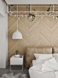 House modern loft interiors 34 Ideas for 2019 Feature Wall Bedroom, Bedroom Wall, Bedroom Decor, Bedroom Ideas, Bedroom Furniture, Wall Headboard, Bedroom Wardrobe, Design Bedroom, Wood Feature Walls