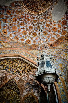 Mughal Emperor Jalal-ud-Din Muhammad Akbar's Tomb, Agra, India - (ceiling view)