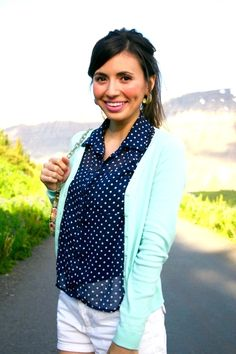 navy and white polka dots with light blue cardigan from Leopard Martini blog