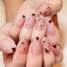 Star and moon nail art. Manicure inspiration for any time of year!