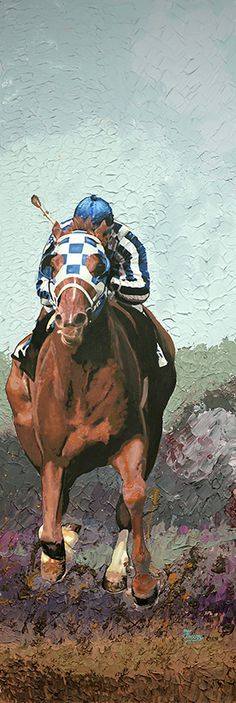 """Well, here is the finished painting. It's a couch series painting turned on it's side! A 16"""" x 48"""" Acrylic and Modeling paste, called """"BIG RED"""" Airborne. Come see it at the Secretariat festival Sept 20, in Paris, KY."""