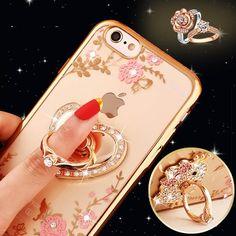 Bling Diamond Case for Samsung S5 S6 S7 Edge Note 3 4 5 for iPhone 5s 6 6s 7 Plus Finger Ring Kitty Peacock Holder Phone Cases