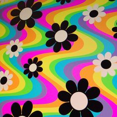 wallpaper art ish - The Art of Oliver Hibert - Rainbow Daisies - Present Day Bedroom Wall Collage, Photo Wall Collage, Picture Wall, Collage Art, Wall Mural, Wall Art, Hippie Painting, Trippy Painting, Pintura Hippie