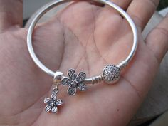 Flower pave dangle charmsterling silver charmbracelet by ALOR925
