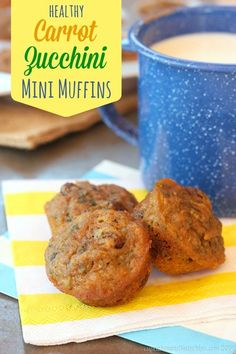 Healthy Carrot Zucchini Mini Muffins recipe.  These are a yummy breakfast or snack for you or the kids with an extra dose of vegetables.  The perfect healthy treat for the on the go family! (Bonus: No sugar!)