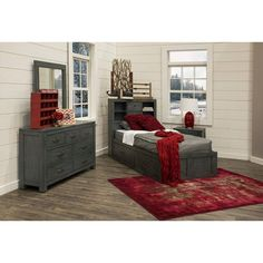 Casual Rustic Blue 7 Piece Twin Bedroom Set   Choices