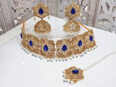 Royal Blue Maharani Choker Set with Pearls