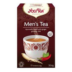 Yogi Tea Men's Tea Yogi Tea Men's Tea 100% Biológico Apresenta-seem caixas de 17 Saquetas com 1,8grs de chá. Ingredientes: Gengibre, cardamomo, alcaçuz, alfarroba, canela, malte de cevada, chicória torrada, hortelã-pimenta, feno-grego, funcho, noz-moscada, anis, flores de ginseng, astragalus, açafrão, malagueta, pimenta preta e aromas naturais de canela. Propriedades: Mistura especial para Homens. O feno-grego aumenta os niveis de testosterona. o Astragalus é considerado um protector...