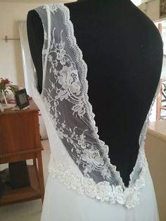 Natali Bohemian Wedding Dress Chiffon and Lace Low back Sweetheart Lace Train boho Wedding
