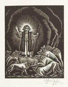 Władysław Skoczylas - Dzieciątko Jezus wśród wilków, 1929 r.