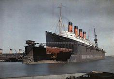 Cunard Line MAURETANIA in floating drydock, 1920s.