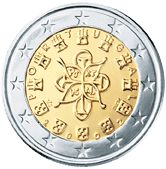 €1 Portugal, hierop staan de kastelen en het wapen van Portugal afgebeeld.