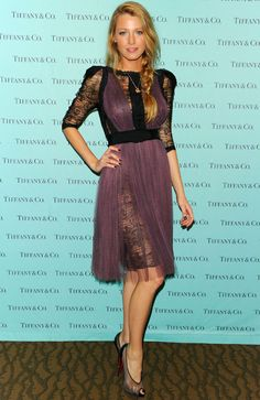 This purple frock proved playful and unique with its black accents. #BlakeLively