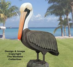 3D Life-Size Pelican Wood Pattern NEW!  Pelicans, those huge stocky seabirds with oversized bills and stretchy throats, populate our ocean fronts today but were on the brink of extinction not so long ago. Now you don't have to live by an ocean to have one of these comically elegant birds hanging around. You can make our 3D life-size Pelican no matter where you live.