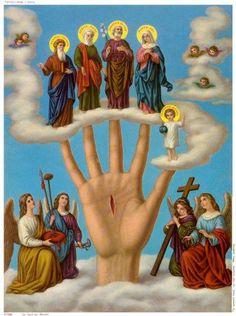 Die Hand Jesu mit Wundmal und die Heilige Familie