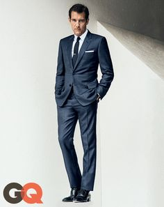 GQ.com: Suit, $3,900, shirt, $600, and tie, $190, by Dior HommeShoes, $1,560, by Tom Ford Tie bar and pocket square by The Tie Bar.