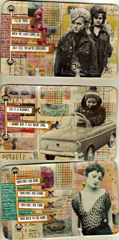 I like the patchwork background here. Rolodex Journal: Life Is A Highway Series by Junquemail Contessa