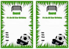free printable soccer birthday party invitations soccer Free Football Birthday Invitations Design 2019 New Design Football Party Invitations, Birthday Party Invitations Free, Free Birthday Invitation Templates, Printable Invitations, Invitation Cards, Birthday Cards, Soccer Birthday Parties, Football Birthday, Soccer Party