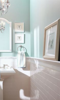 Subway tile half wall, Blue Inspiration for the Bathroom -- The Home Depot. Plain coloured tiles, decorative border tile