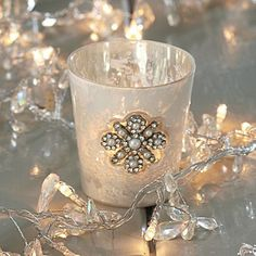 jewelled tealight holder-Nicky could make these