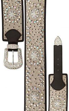 Katydid Women's Light Grey Ostritch w/ Iridescent Crystals Wide Waist Belt