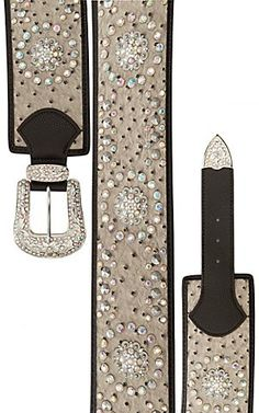 Katydid Women's Light Grey Ostritch w/ Iridescent Crystals Wide Waist Belt