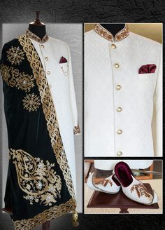 Sherwani with innocence can touch the extreme of elegance ~ 👑🏇💫 Inbox us or 📞 for pricing and Free Designer's Appointment. Sherwani For Men Wedding, Wedding Dresses Men Indian, Sherwani Groom, Wedding Dress Men, Wedding Suits, Indian Groom Dress, Indian Bride And Groom, Indian Men Fashion, Mens Fashion Suits