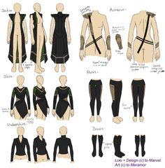 Loki Cosplay Design by ~Meramor on deviantART Loki reference - not lady loki Lady Loki Cosplay, Costume Loki, Female Marvel Cosplay, Cosplay Diy, Cosplay Dress, Halloween Cosplay, Rey Cosplay, Loki Cosplay Tutorial, Simple Cosplay