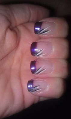 Purple nails are generally vibrant and are well suited with any skin color. You can, therefore, use a purple nail polish to add some flare to your nail designs. Purple Nail Art, Purple Nail Designs, French Nail Designs, Acrylic Nail Designs, Nail Art Designs, Homecoming Nails, Prom Nails, Fun Nails, Pretty Nails