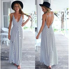 The Cotton dress is sexy with spaghetti strap design ,It can make you more attractive.And collocating with a suitable hat is a better choice. Material:Cotton Size:S,M,L,XL Color: Stripe Collar:Spaghet