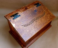 Vintage Rustic Solid Wood Bread Box Handcrafted Carved by chriscre, $30.00