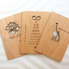 sustainable wood, laser engraved| Mothers Day Assorted Cards